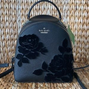 New Kate Spade Black Floral Flocked Mini Backpack